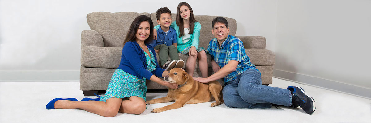 Family on carpet cleaned by Ivy Green Chem-Dry in Corona CA